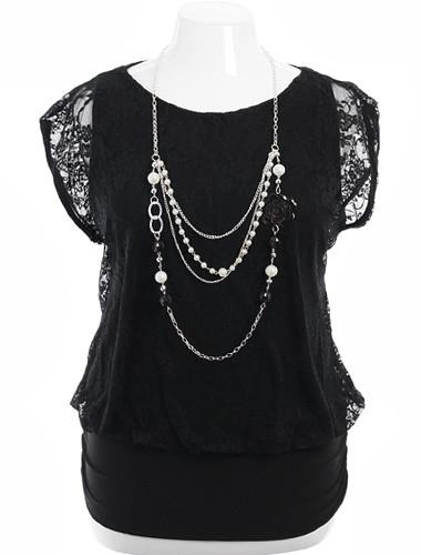 Plus Size Layered Lace Blouse Pearl Necklace Black Top