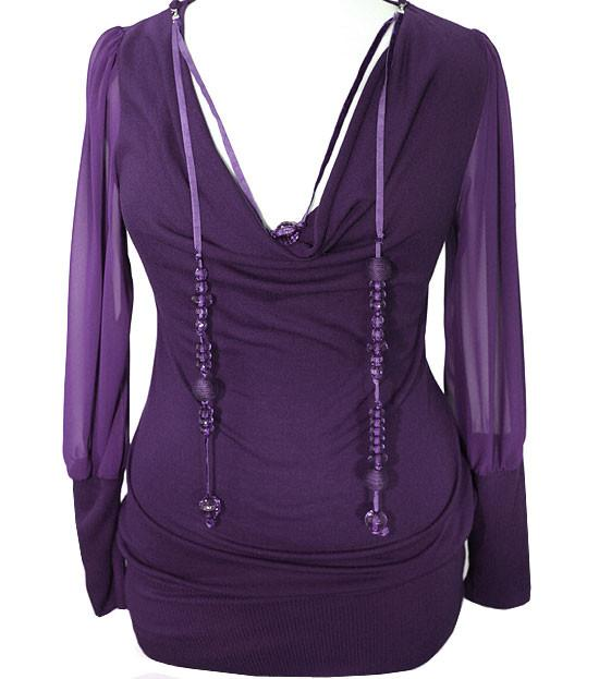 Plus Size Lace Sleeve Jewelry Purple Top