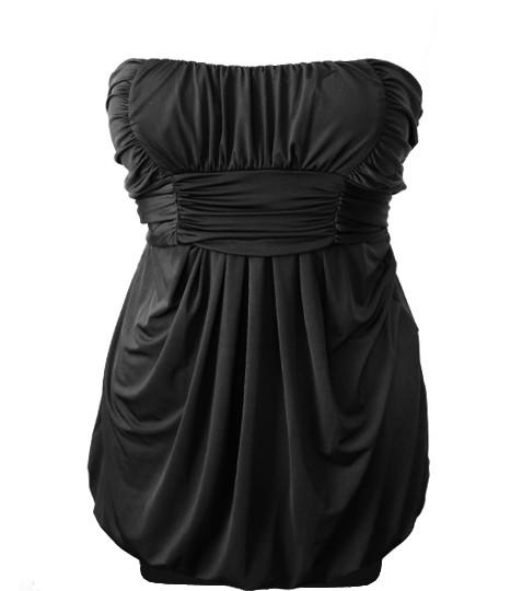 Plus Size Pleated Bubble Black Tube Dress