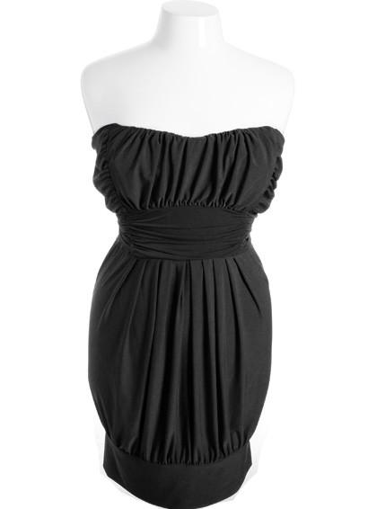 Plus Size Sexy Pleated Bubble Black Tube Dress