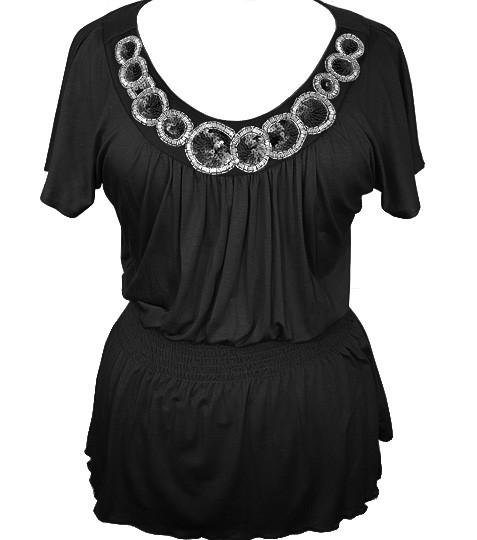 Plus Size Diva Dazzling Collar Black Top