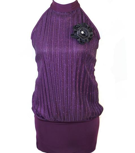 Plus Size Sparkling Pleated Flower Purple Long Halter