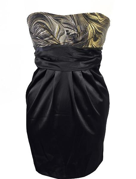 Plus Size Sparkling Trendy Gold Tube Dress