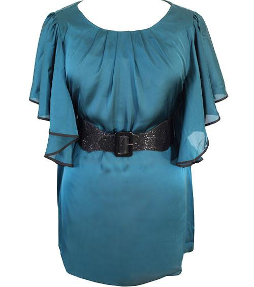 Plus Size Sexy Satin Flutter Sleeve Teal Top