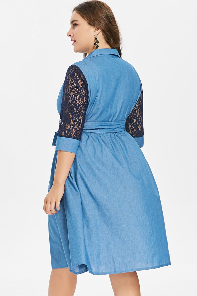 Plus Size Denim Lace Sleeves Trim Waist Tie Dress