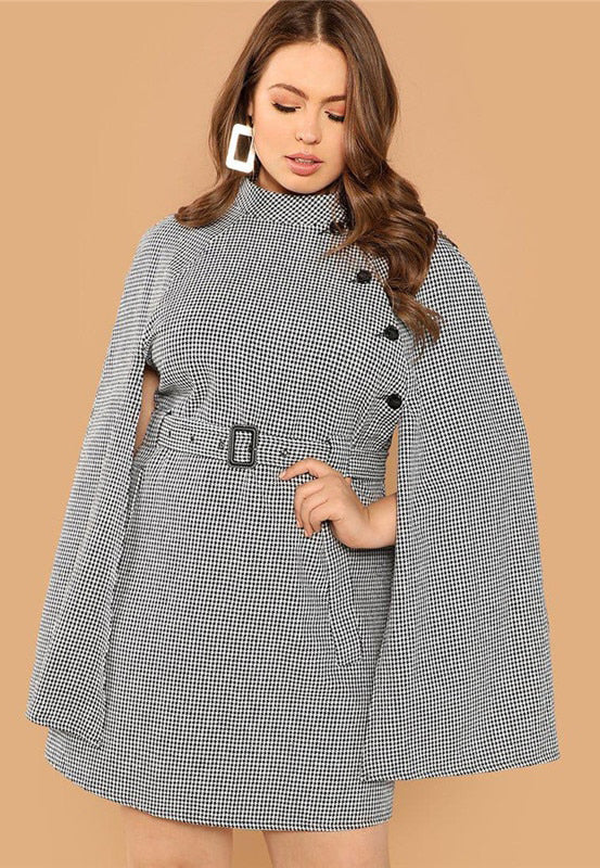 Plus Size Houndstooth Belted High Waist Cape Sleeve Dress