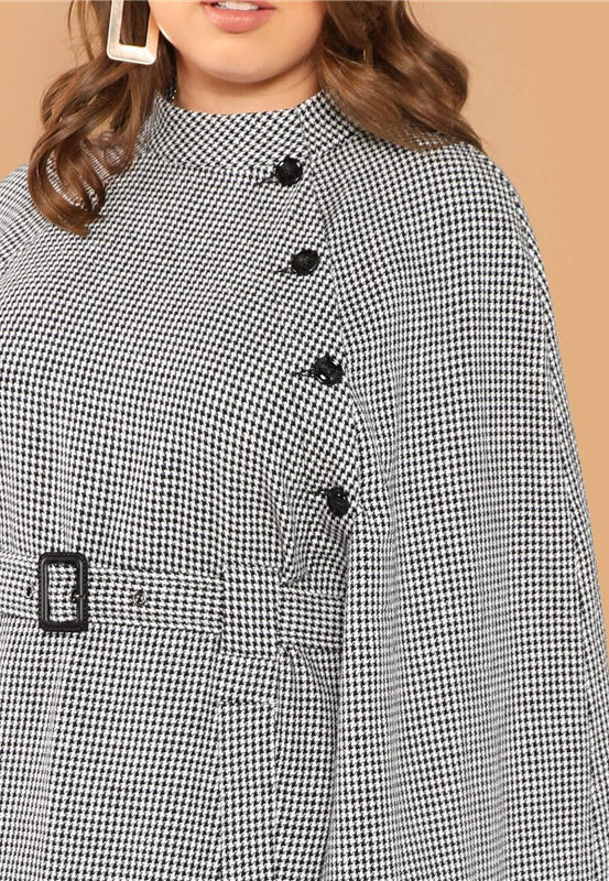 Plus Size Houndstooth Belted High Waist Cape Sleeve Dress ...