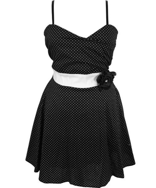 Plus Size Cotton Polka Dot  Black Sundress