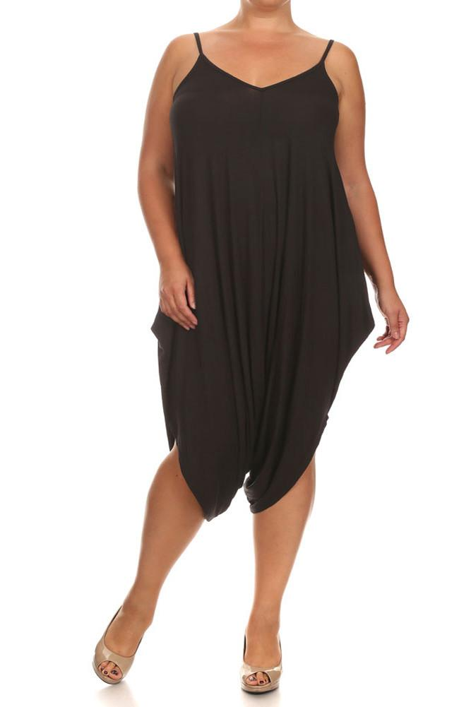 Plus Size Mod Draped Black Playsuit