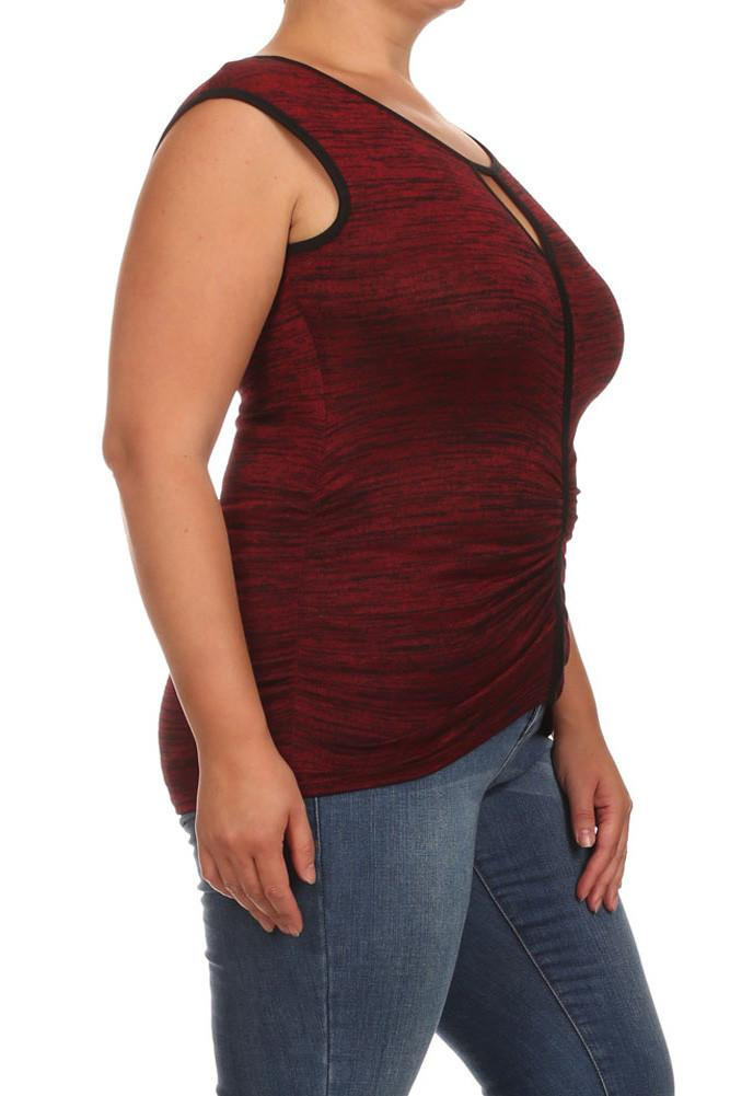 Plus Size Sexy Ruched Trim Red Top