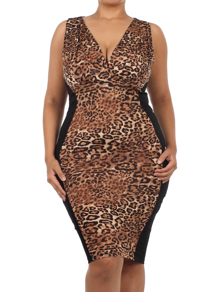 Plus Size Wild Entity Leopard Midi Dress