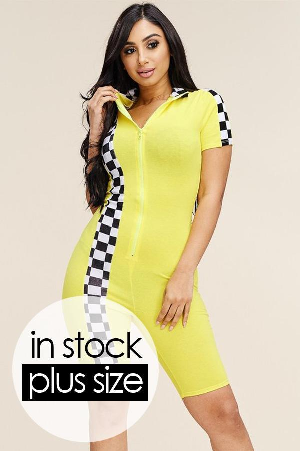 Plus Size Checker Trim Sporty Capri Romper