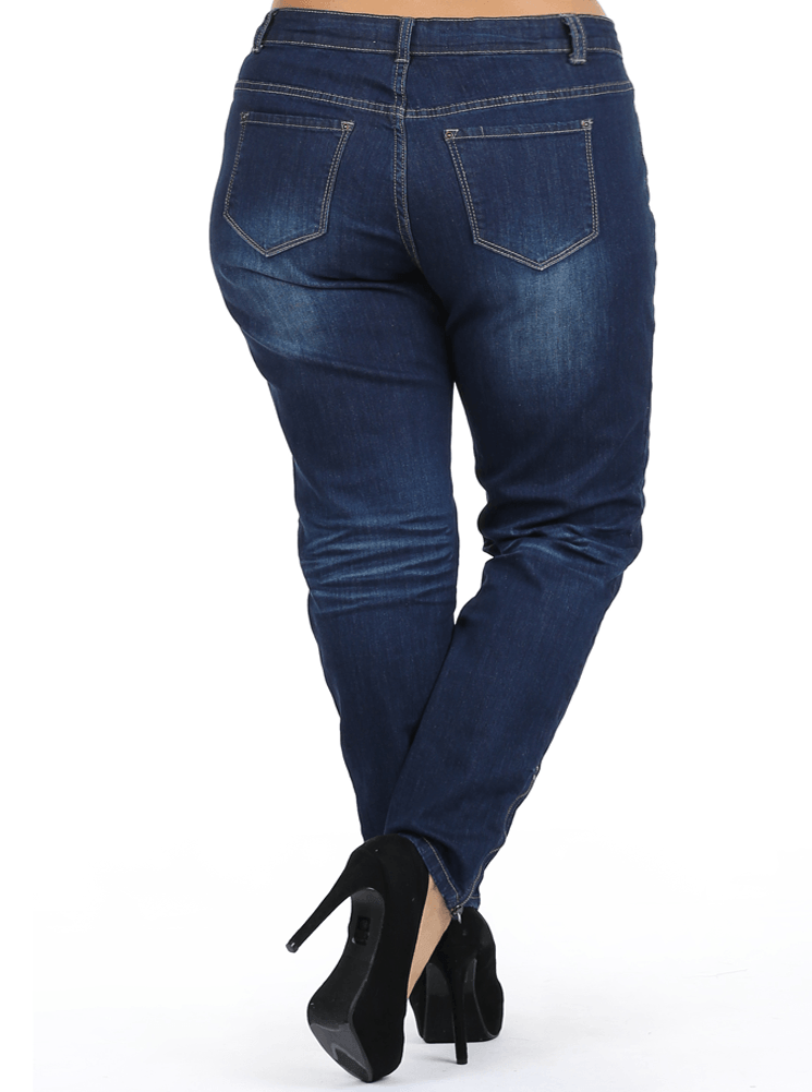 Plus Size High Rise Zipper Ankle Skinny Denim Jeans