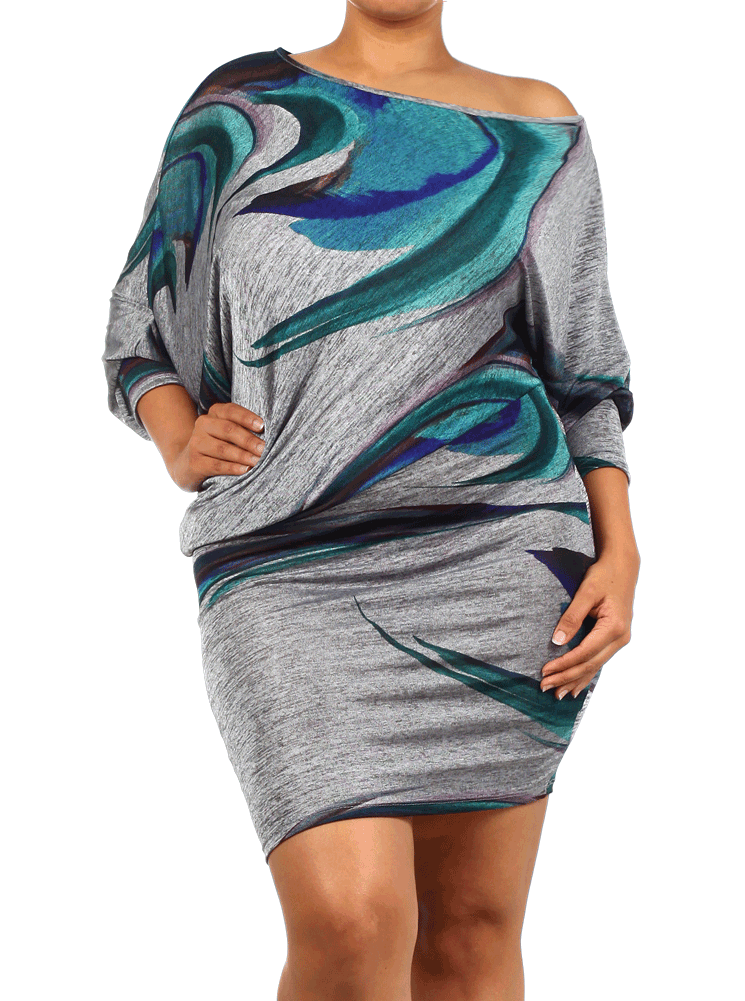 Plus Size Sexy Asymmetrical Metallic Hued Dress