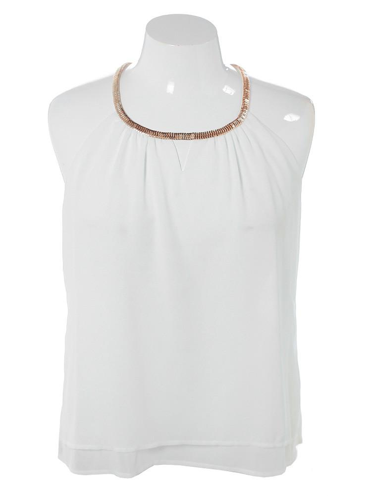 Plus Size Gilded Neckline Sheer White Top