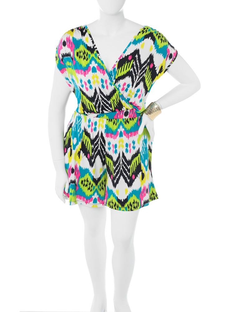 Plus Size Colorful Electric Teal Romper