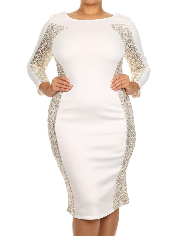 Plus Size Gala Embroidered Glitter White Midi Dress