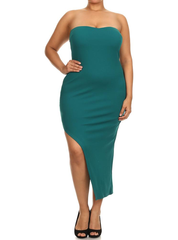 Plus Size Sweetheart Asymmetrical Cut Out Green Midi Dress