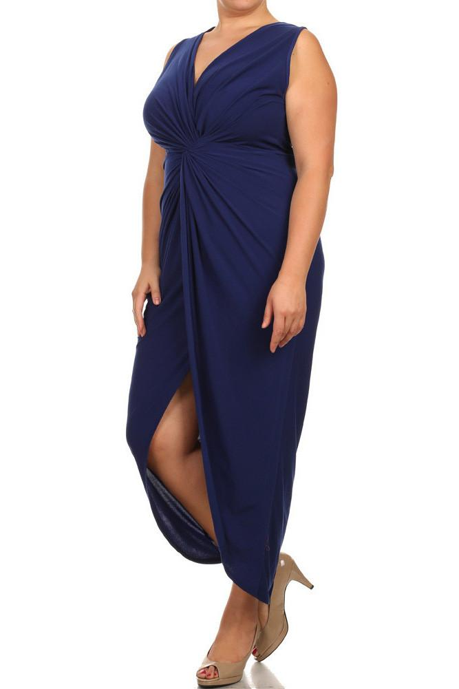 Plus Size Luring Knot Front Navy Blue Maxi Dress