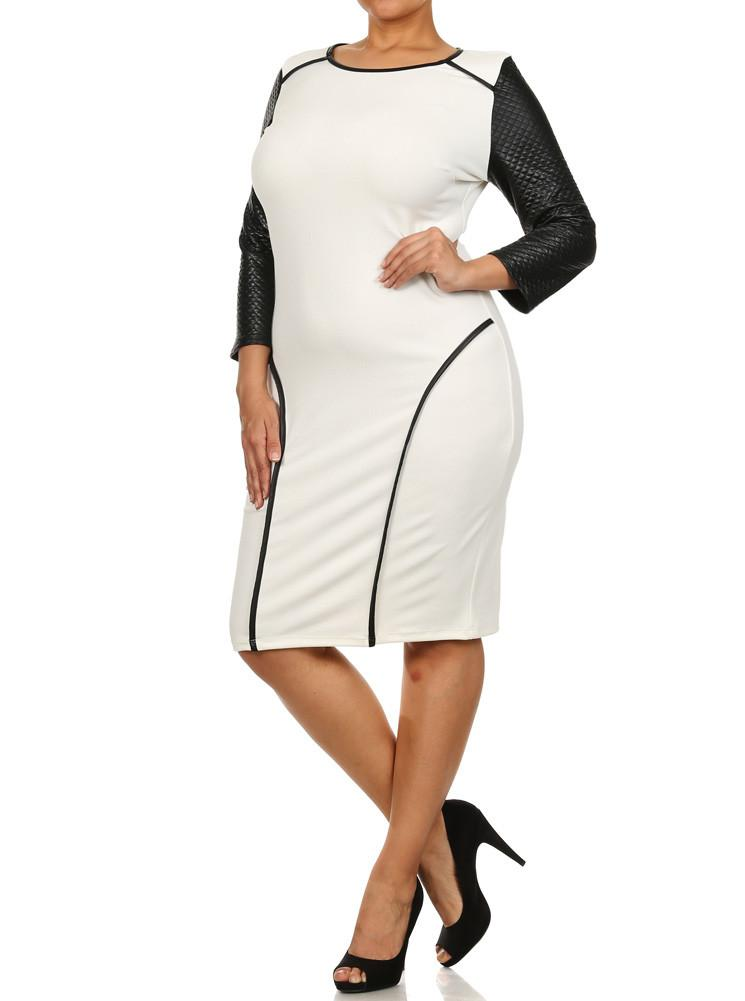 Plus Size Take The Town Leather Sleeves Dress