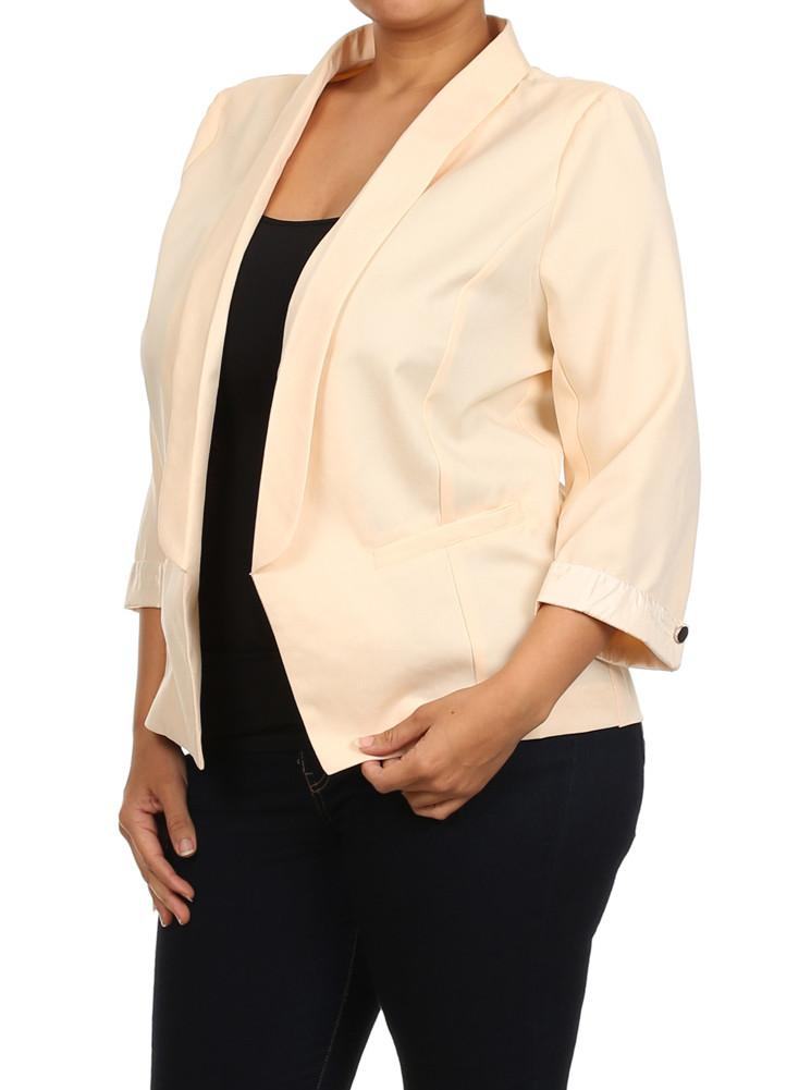 0face7a897d Plus Size Elegant Open Front Peach Blazer – slayboo
