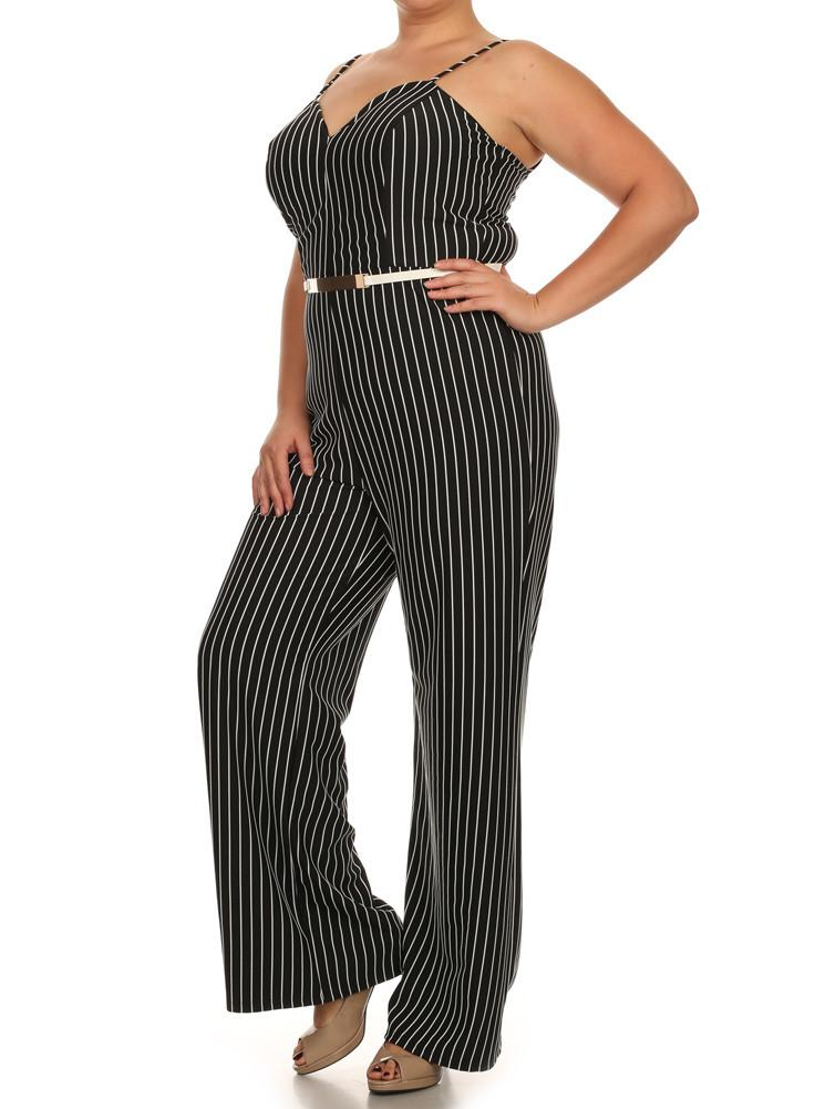 464768a8b84 Plus Size Sexy Striped Wide Leg Belted Black Jumpsuit – slayboo