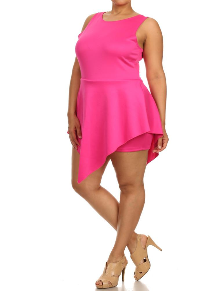 Plus Size Glamorous V Hem Open Back Skater Pink Dress
