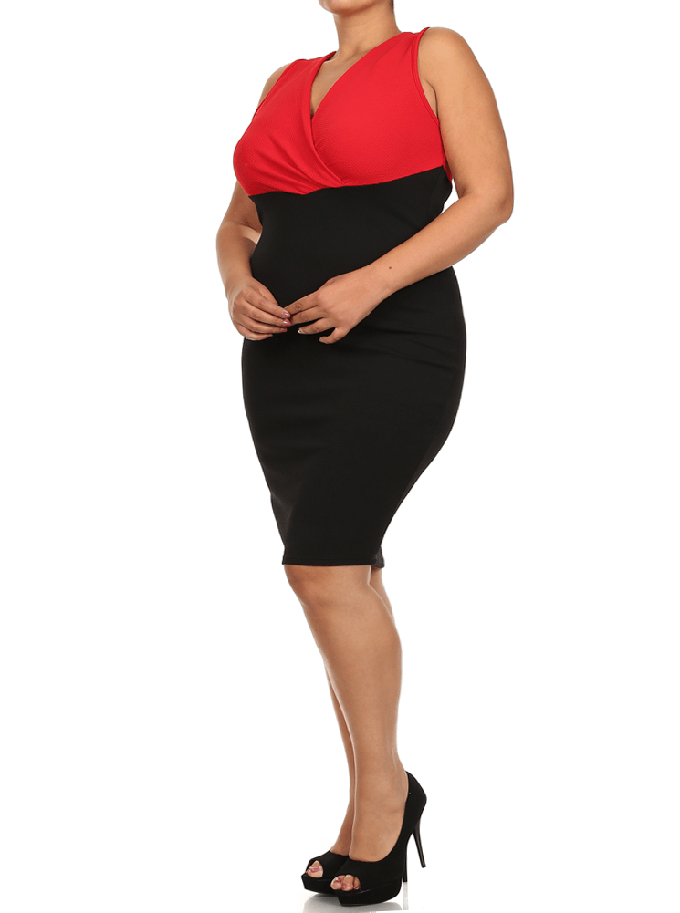 Plus Size Surplice V Neck Textured Red Midi Dress