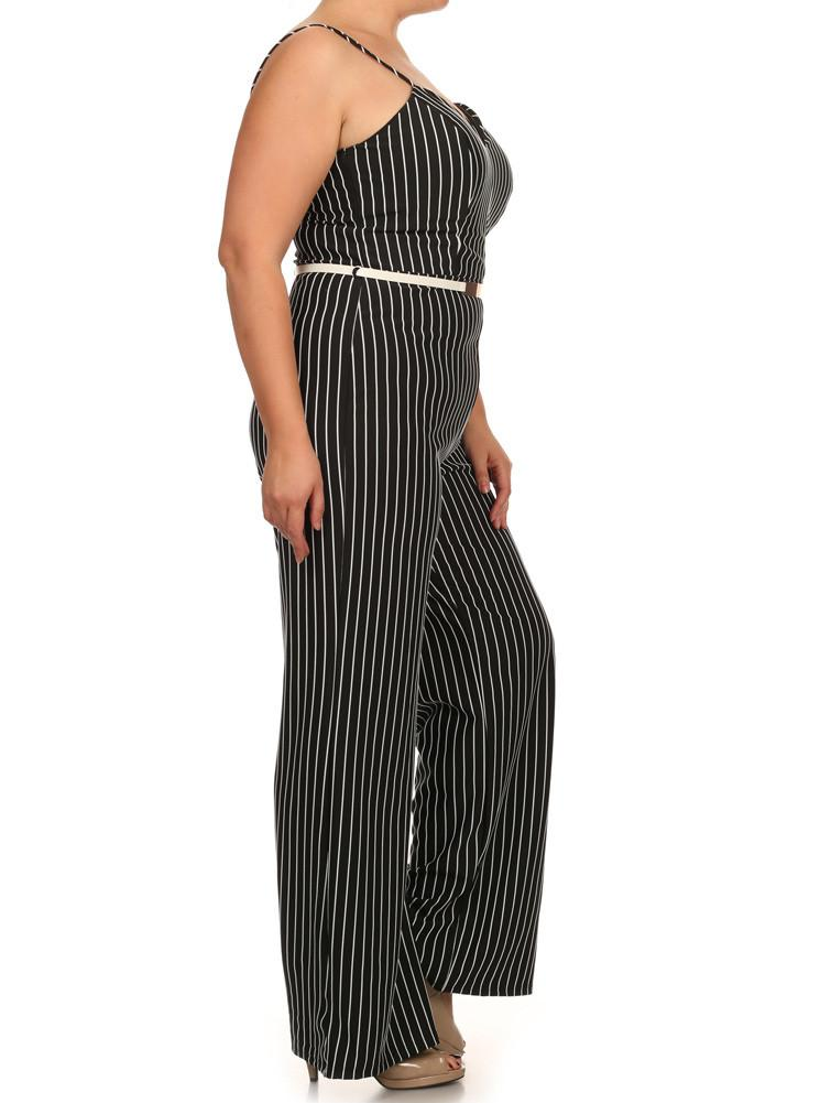 Plus Size Sexy Striped Wide Leg Belted Black Jumpsuit