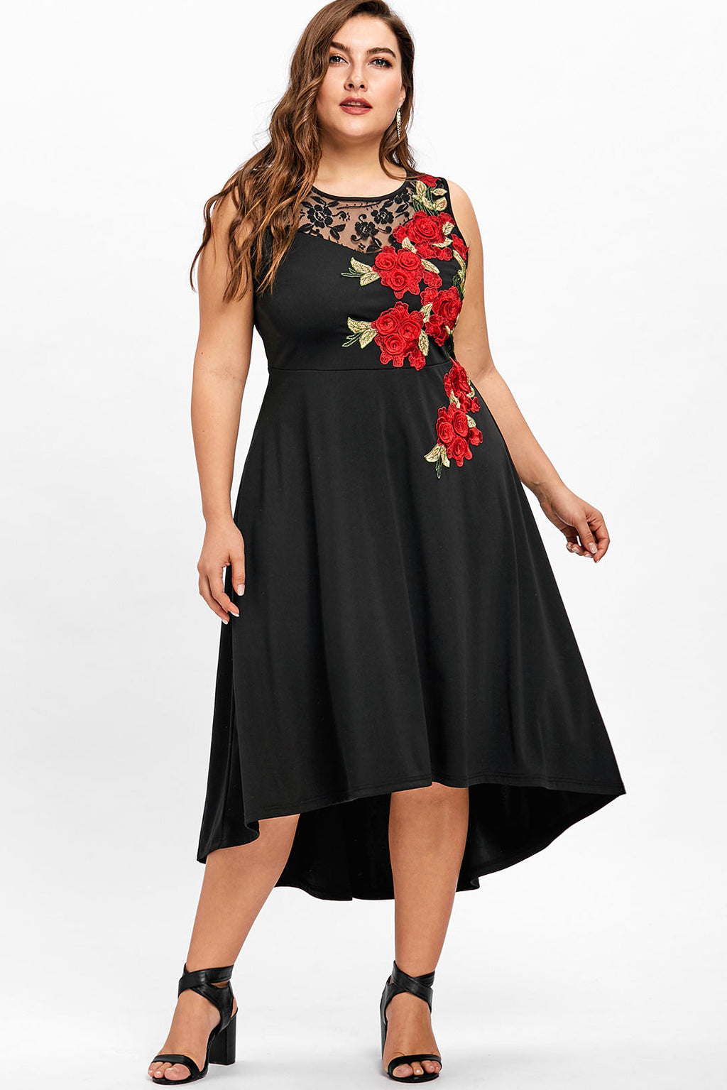 Plus Size Embroidered Floral Rose Lace Trim Dress