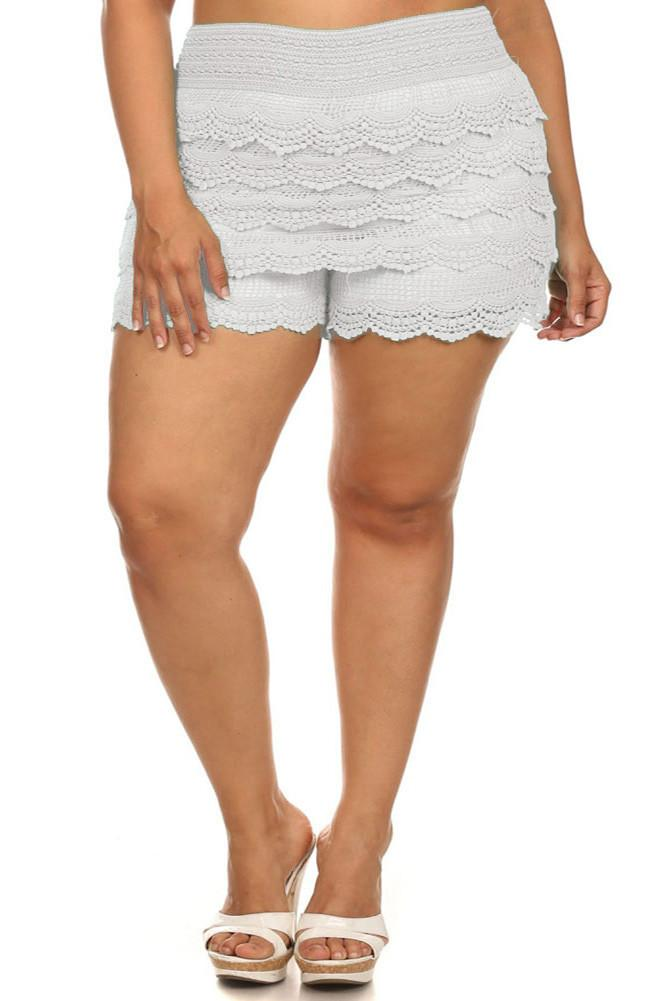 Plus Size Layered Lace Banded Mini Shorts