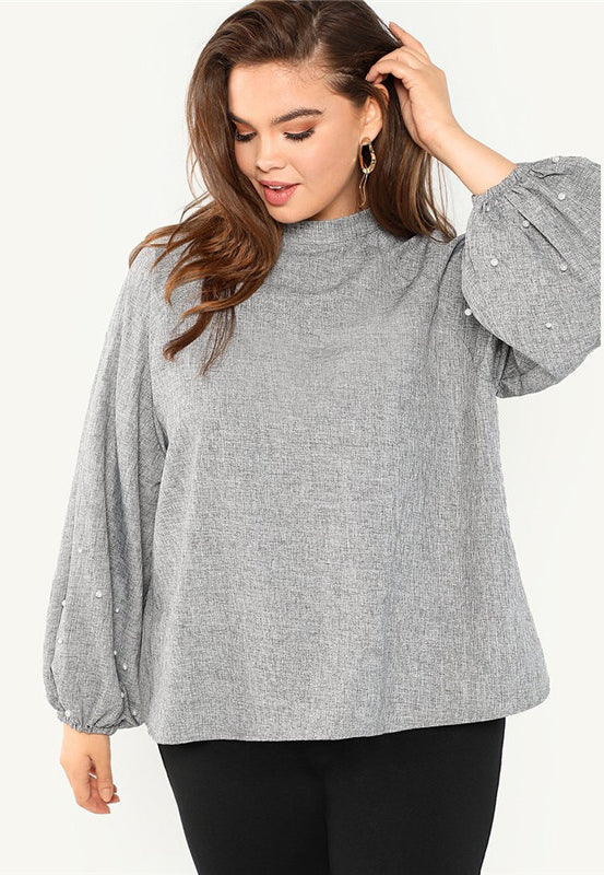 Plus Size Pearl Beaded Lantern Sleeve Stand Collar Top