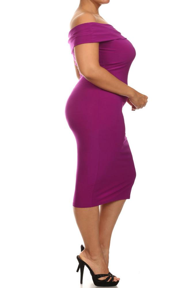 Plus Size Sweet Talker Off The Shoulders Purple Midi Dress