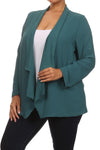 Plus Size Friday Night Draped Sheer Teal Cardigan