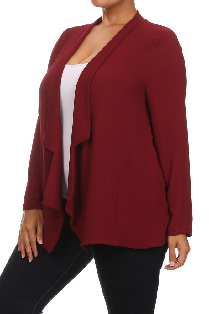 Plus Size Draped Sheer Burgundy Cardigan [SALE]