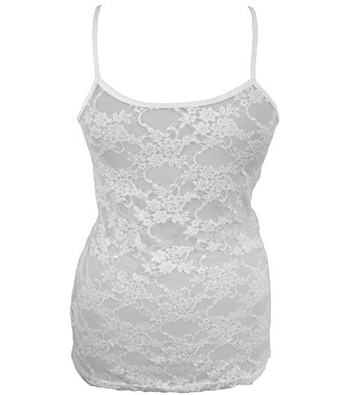 Plus Size See Through Lace White Tank
