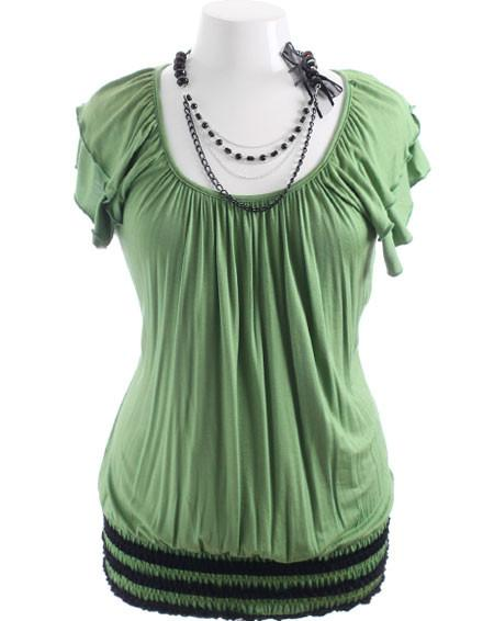 Plus Size Sexy Bead Necklace Green Top