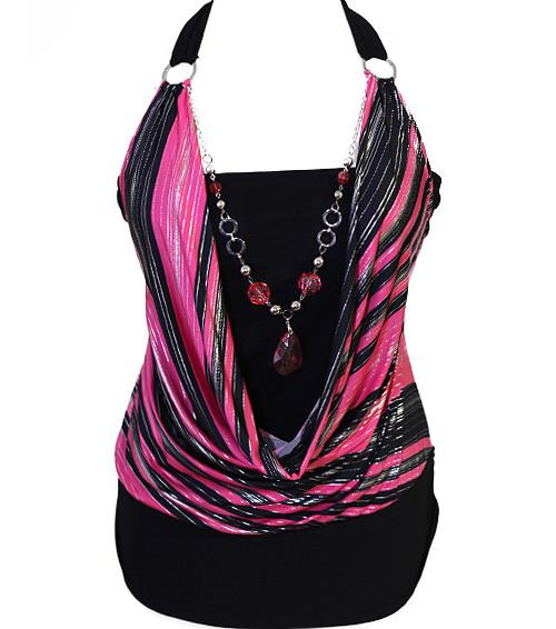Plus Size Silky Sexy Layered Gem Pink Halter