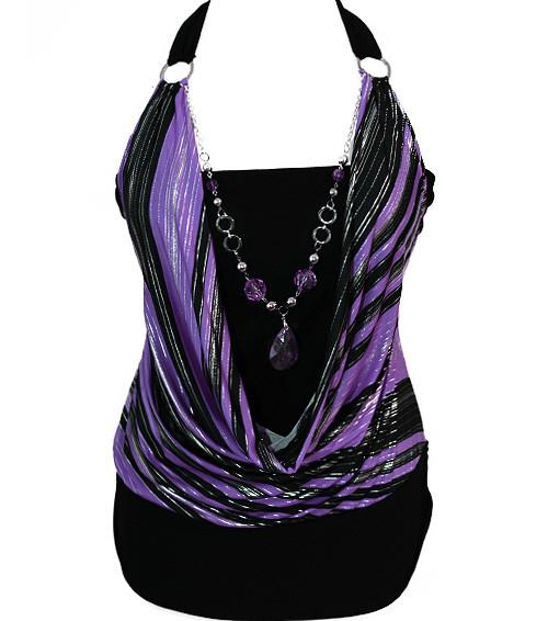 Plus Size Silky Sexy Layered Gem Purple Halter
