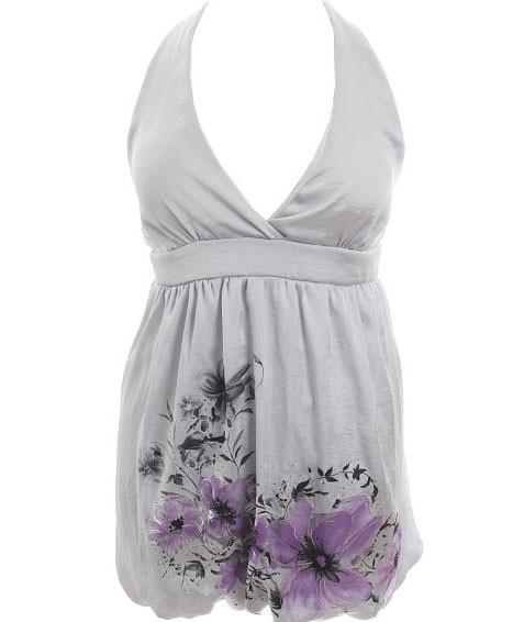 Plus Size Floral Bubble Grey Long Halter