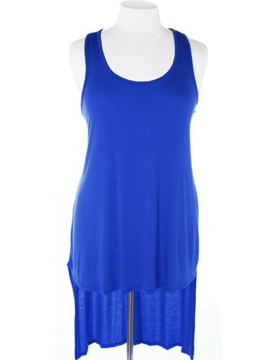 Plus Size Casual Long Blue Tank Dress