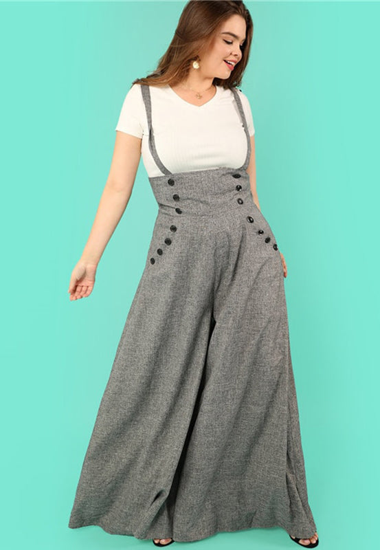 Plus Size Diva High Waist Wide Leg Flare Jumpsuit