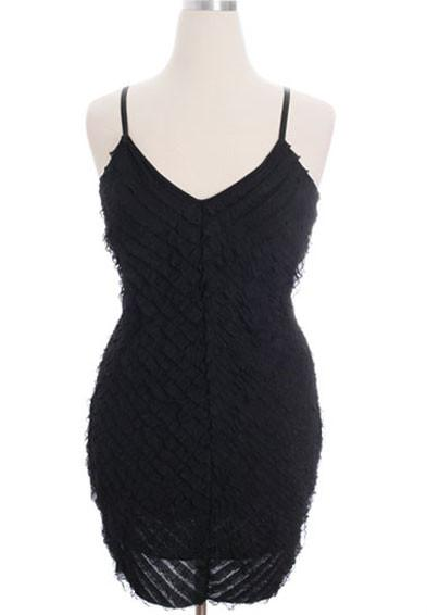 Plus Size Ruffled Sexy Black Cocktail Dress