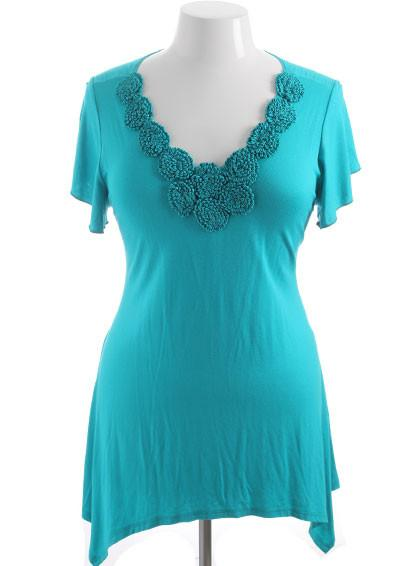 Plus Size Flower Collar Loose Teal Top