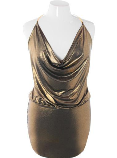 Plus Size Sparkling Gold Cowl Neck Cocktail Dress