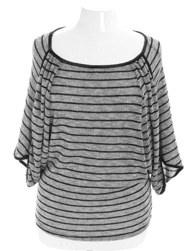 Plus Size Sparkling Silver Stripe Layered Blouse
