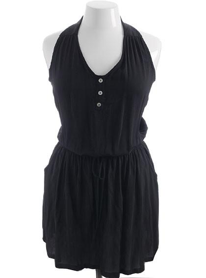 Plus Size Loose Bubble Halter Black Dress
