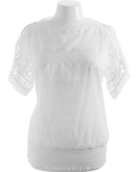 Plus Size Cotton Lace See Through White Top