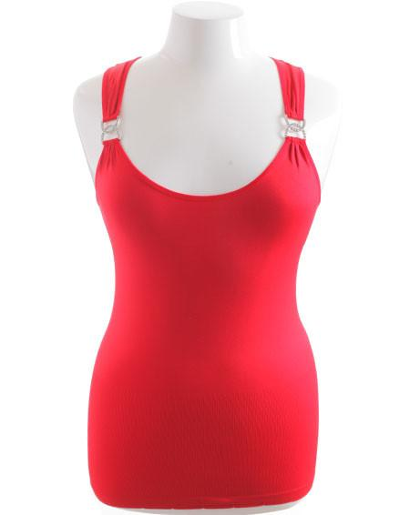 Plus Size Stretchy Diamond Red Tank