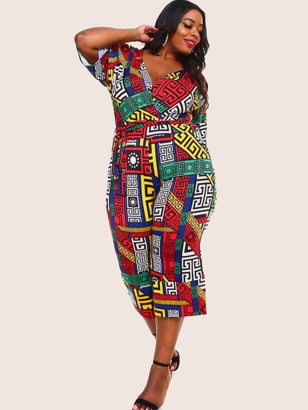 Plus Size Summer Designer Print Belted Jumpsuit